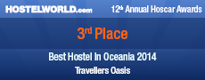 Travellers Oasis is placed 3rd Best Hostel in Oceania